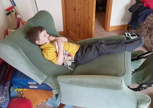 relaxing on a reclining chair