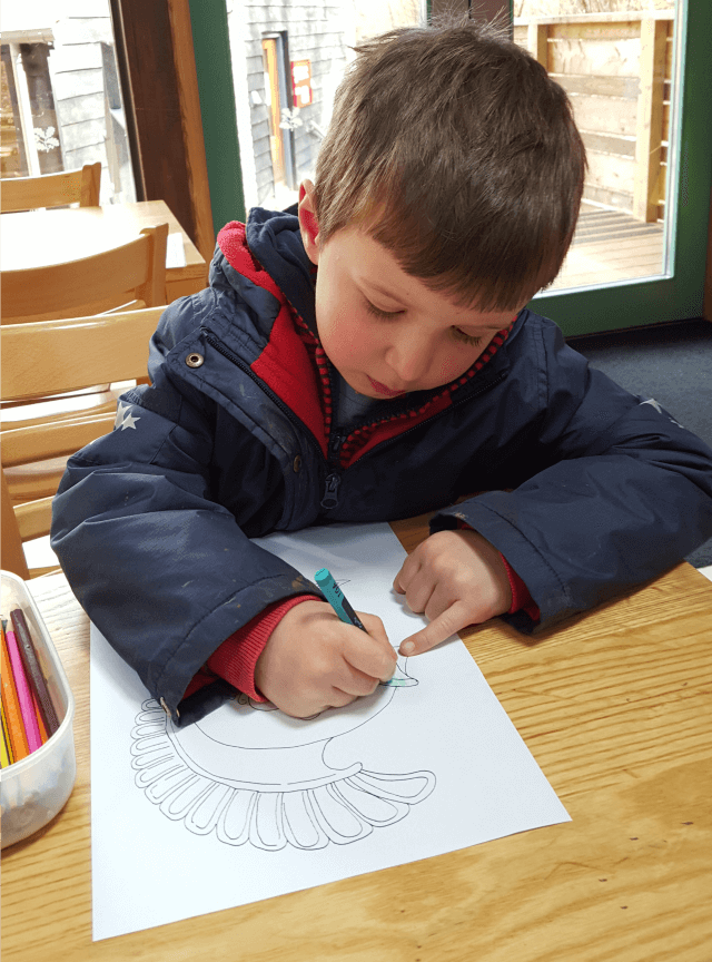 colouring in roman helmets at Chedworth