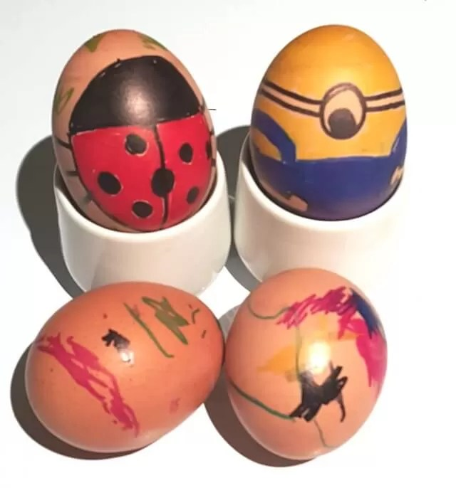 easter egg roll competition eggs - minion egg and ladybird egg