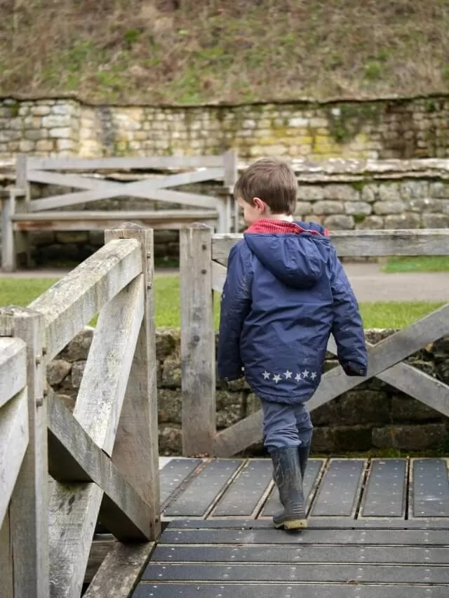 on the wooden footpath at Chedworth Roman Villa