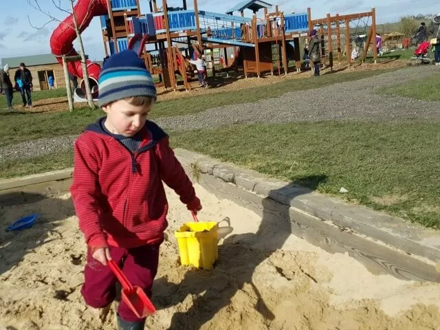 playing in the sandpit at Green Dragon farm