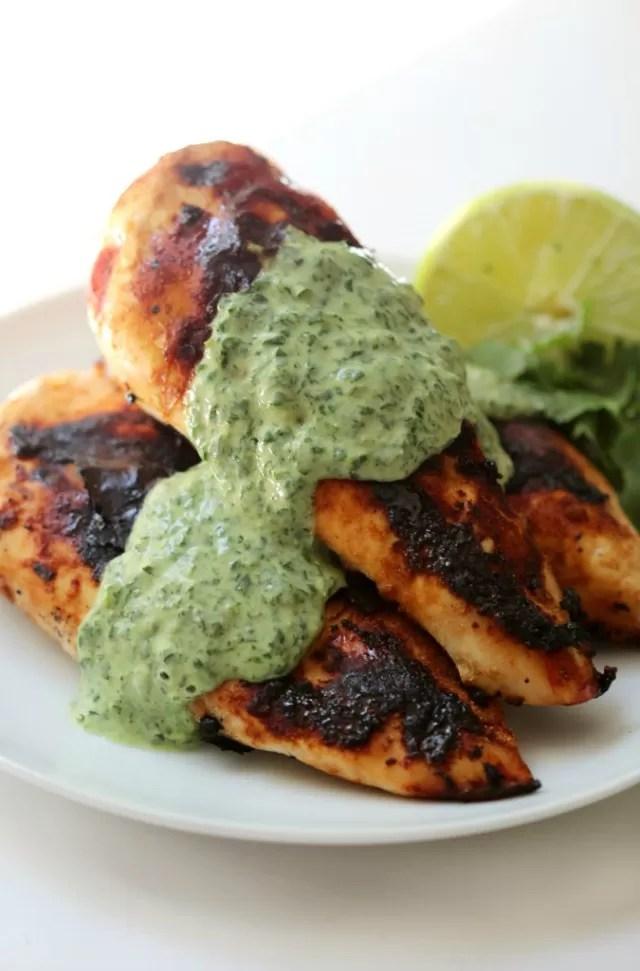 Chicken bbq - Coriander Garlic Chicken Green Goddess Sauce