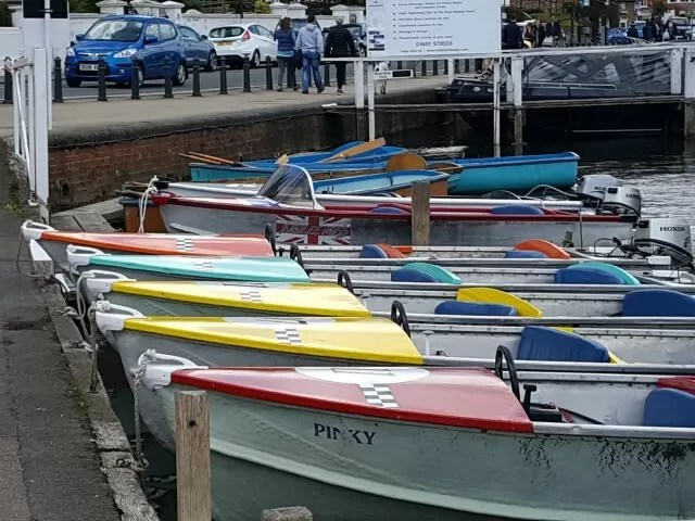 coloured boats in Henley on Thames