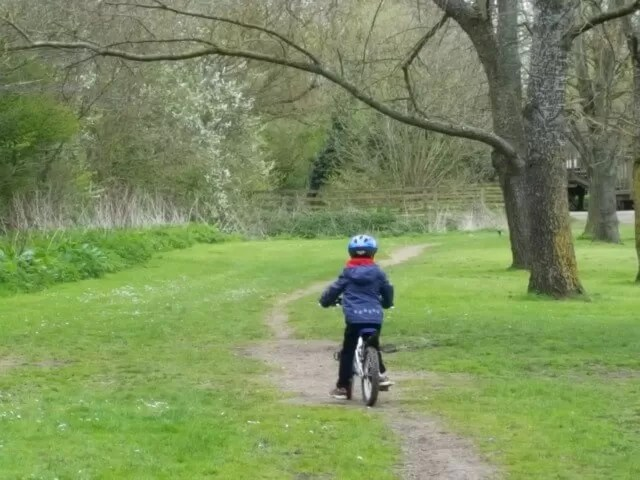 cycling off road in Spiceball park