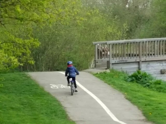 cycling uphill in Spiceball park