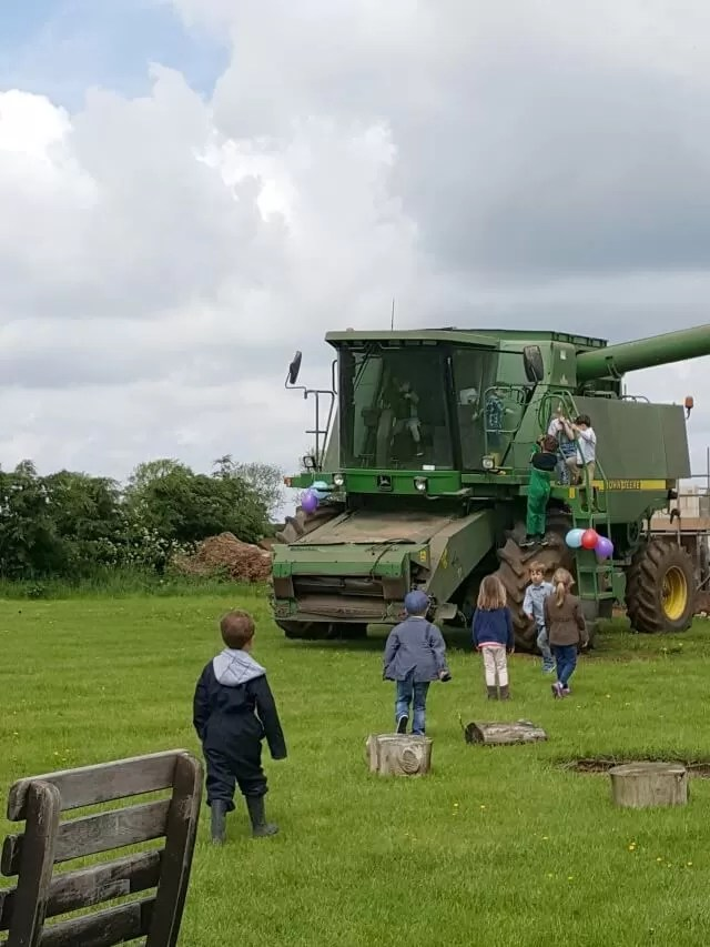 combine harvester at a party