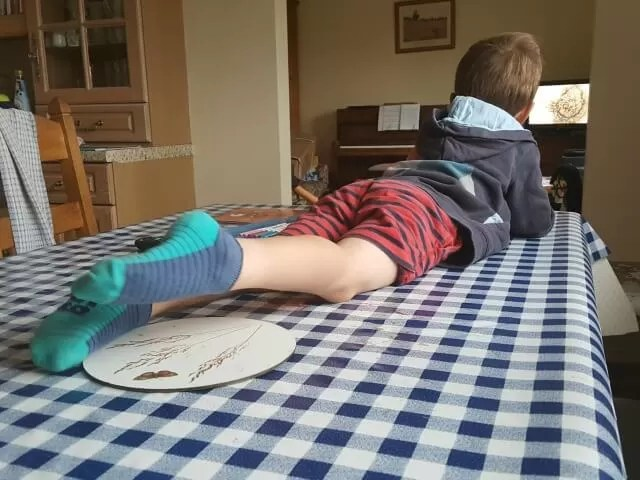 long legs lying on the table