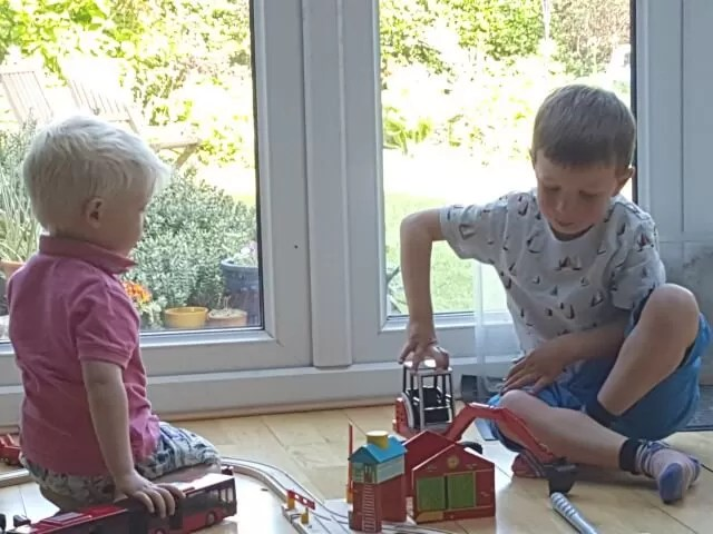 playing tractors and trains