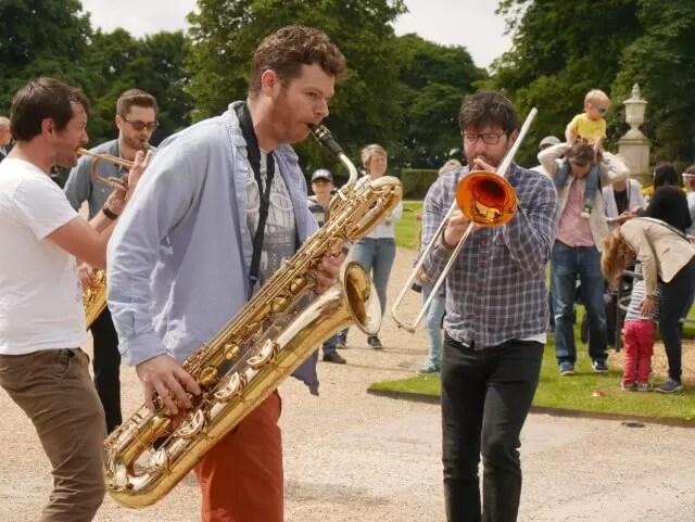 roving brass jazz band at Feast Waddesdon