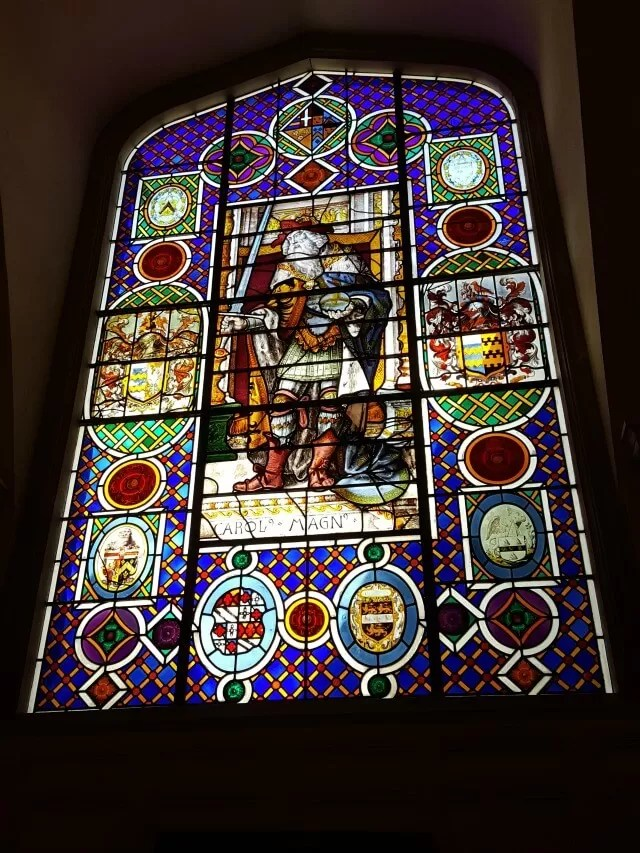 stained glass window at Stonor