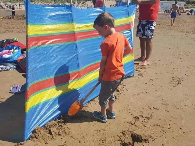 digging in the windbreak on the beach