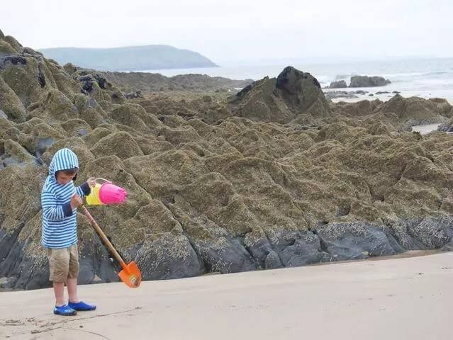 beachcombing at Watersmeet beach