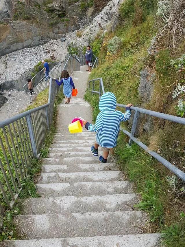 down the beach steps at Watersmeet beach