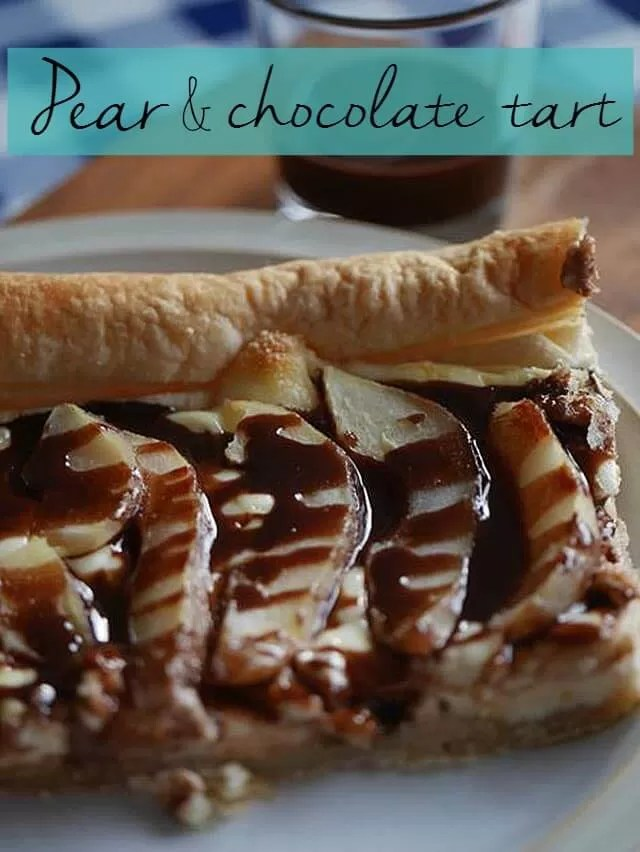 pear almond and chocolate tart - Bubbablue and me