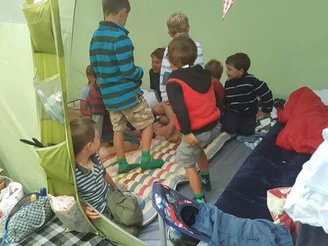 how many kids can you fit in tent on a rainy day