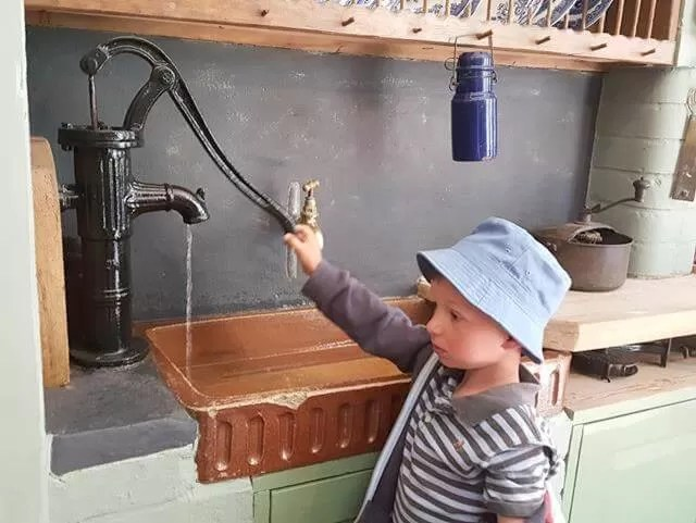 kitchen taps at Watermouth castle