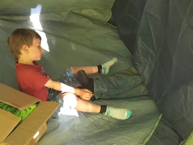 trying to get dad out of the tent