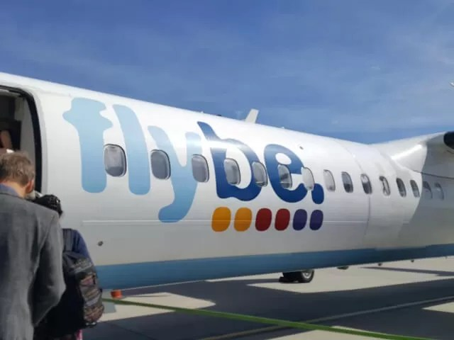 Flybe airplane in Jersey
