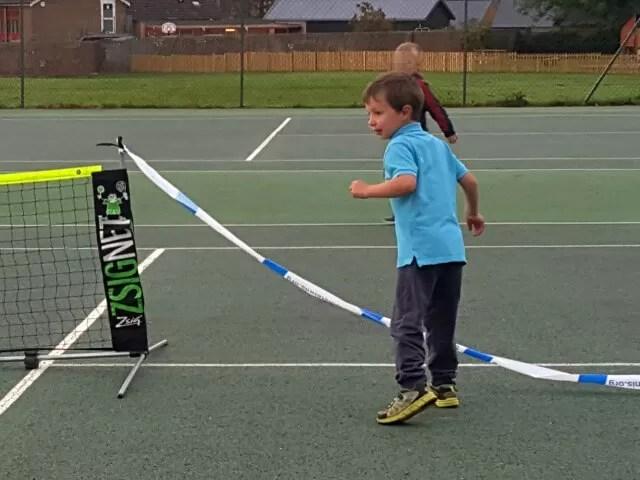 warming up at tennis