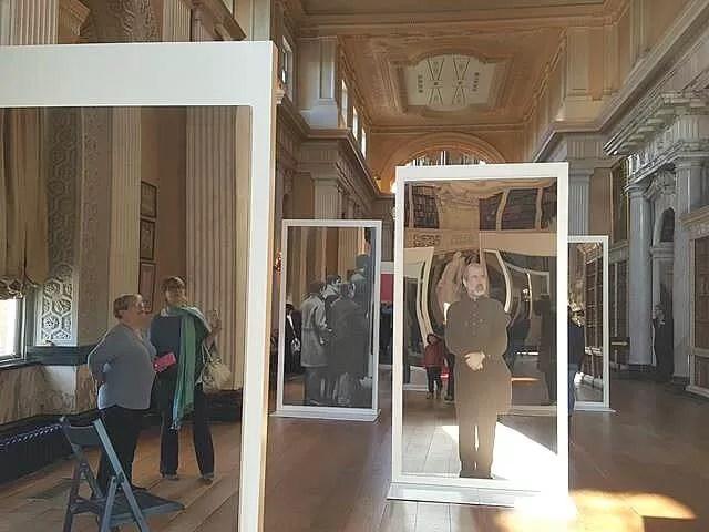 mirrored paintings art installation