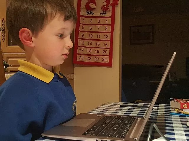 hard at work on the laptop