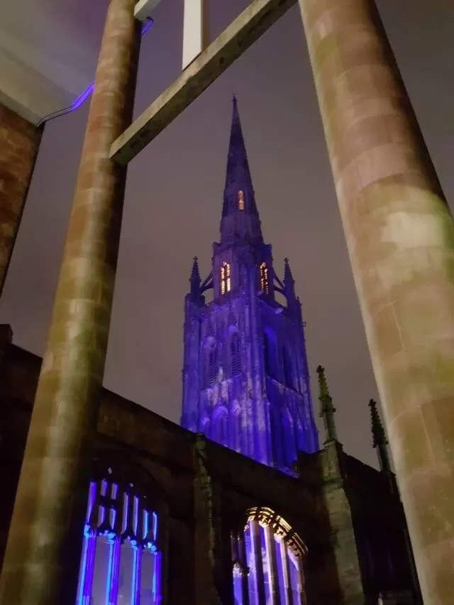 Coventry Cathedral in puple lights