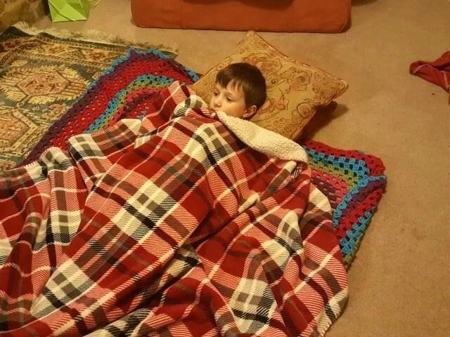 snuggling between blankets