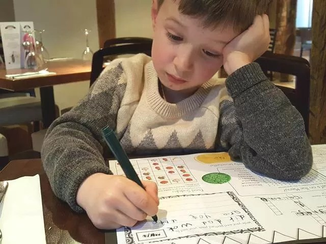 colouring in at Prezzo