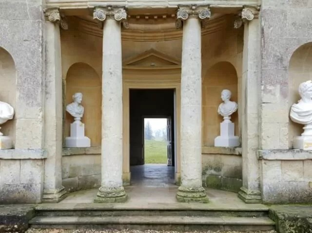 columns and view at Stowe gardens