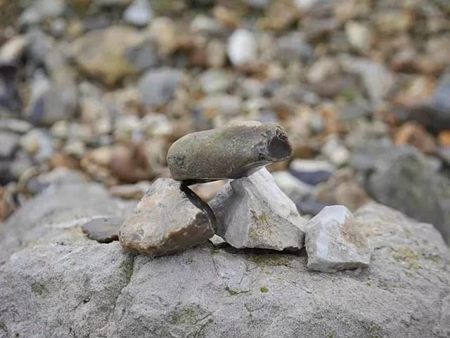 pebble tower on Barton on sea