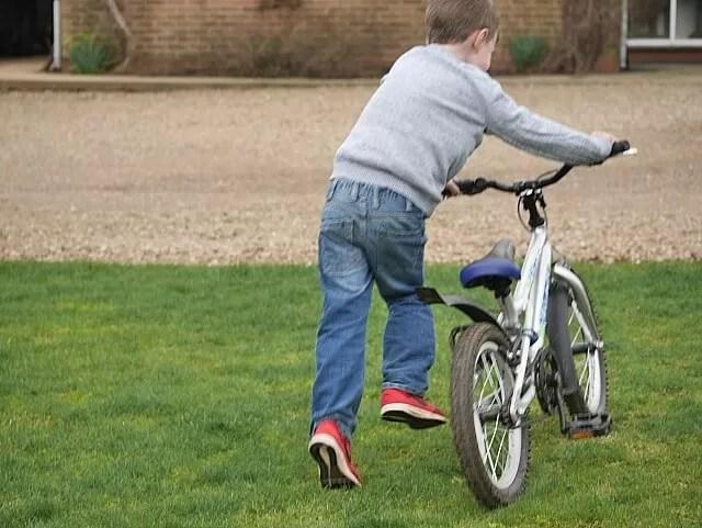 running his bike