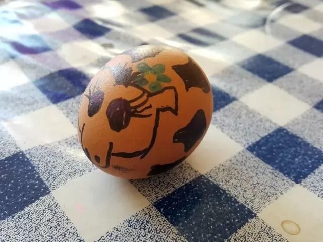 DAisy the cow egg for the school run.