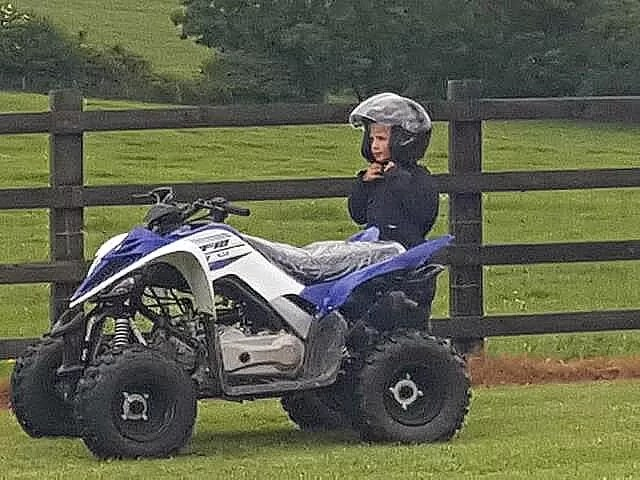 ready to go on the quadbike