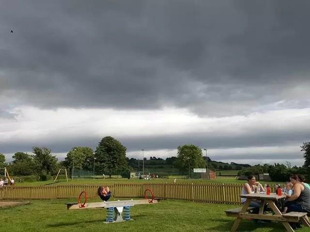 grey skies over tennis