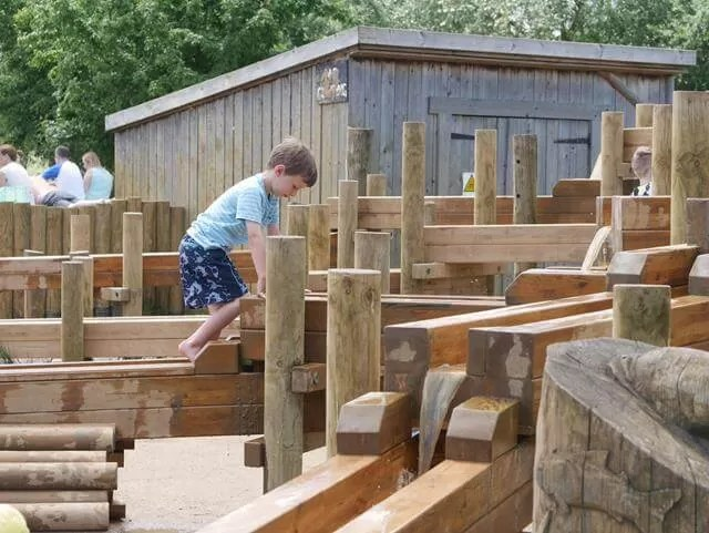 climbing on the water works at stanwick lakes