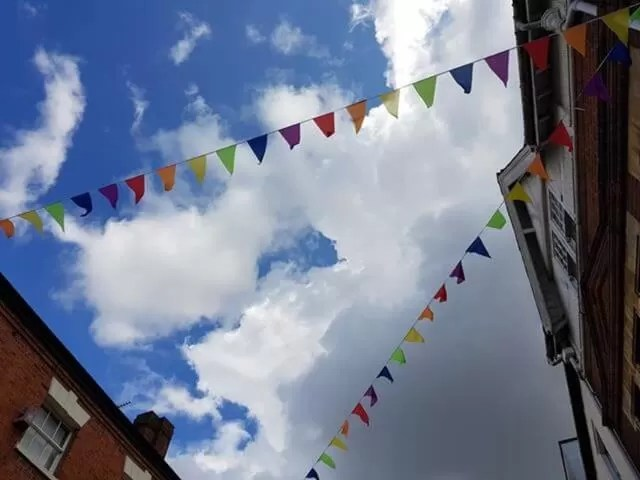 rainbow bunting in town