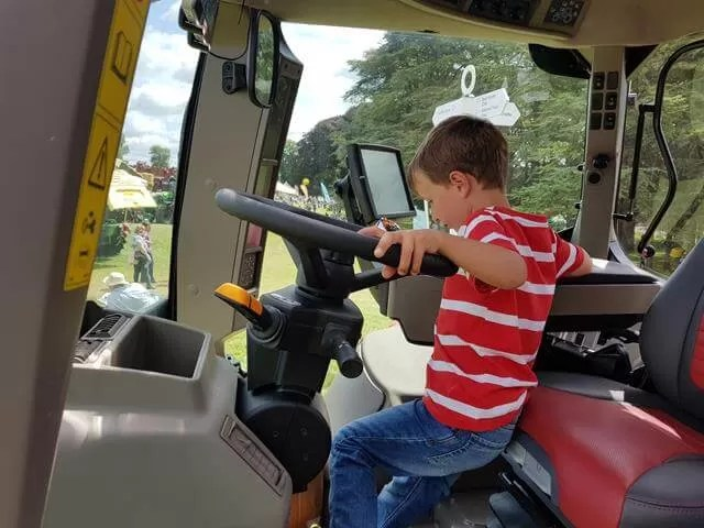 driving a Case tractor cab