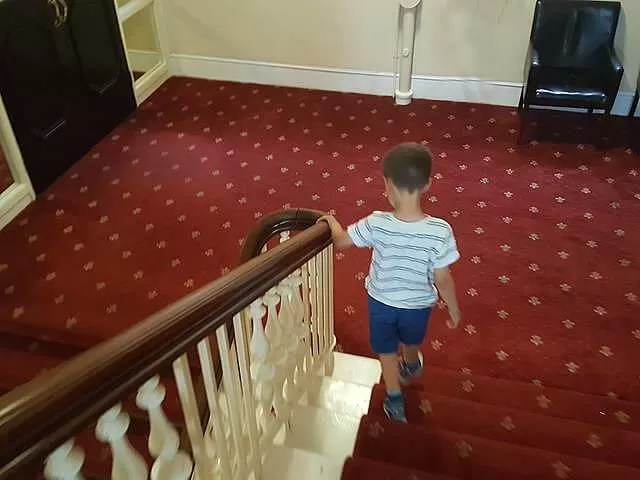 down the stairsways at queens hotel in southsea