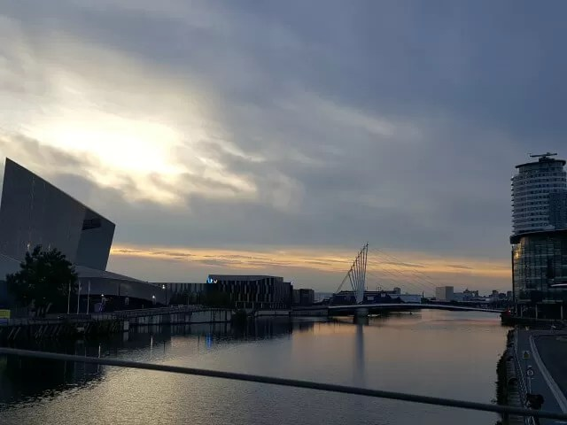 sunset over salford quays