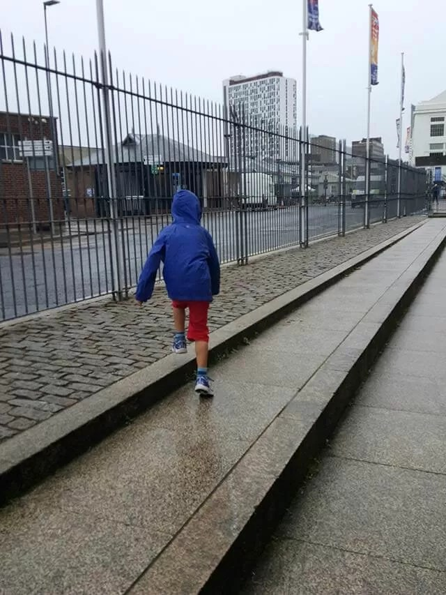 walking in the rain at portsmouth historic dockyard