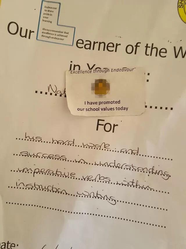 Learner of the week award