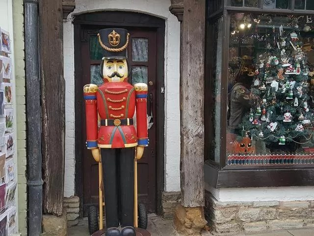 Nutcracker outside the Christmas shop in Stratford