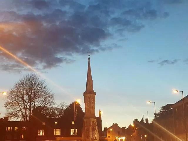 Banbury cross at sunset