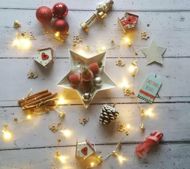 festive flatlay with fairy lights