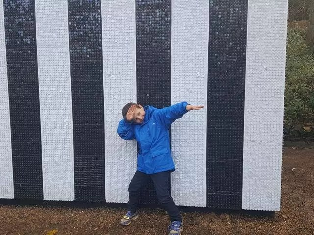 dabbing outside art block at waddeson