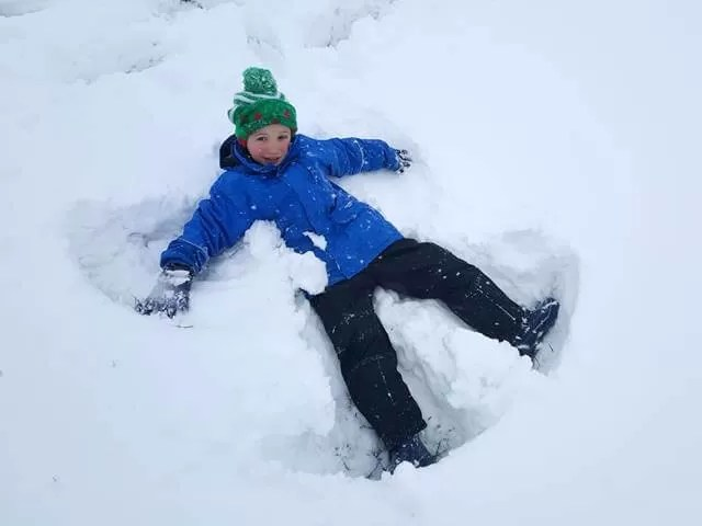 making snow angels