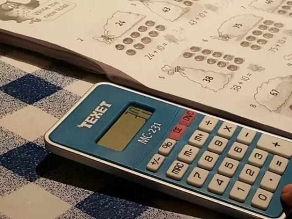 calculator and maths worksheet