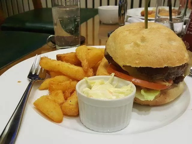 burger dinner at chicheley hall