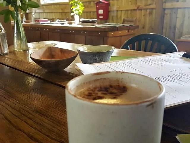 hot chocolate in pottery beaker