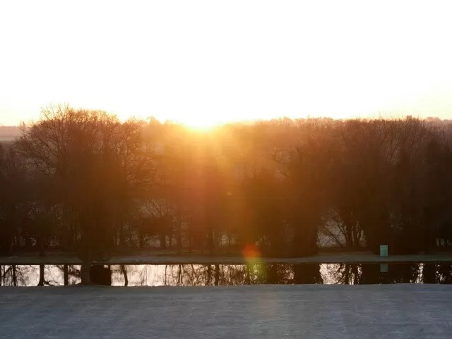 sunrise view from chichchely hall